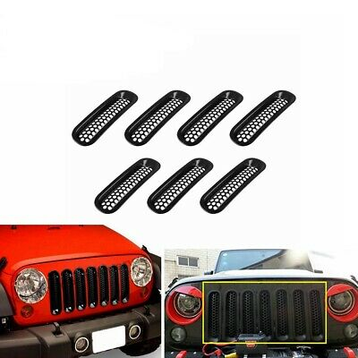For 07-18 Jeep Wrangler JK 7PCS Clip-in Front Insert Mesh Cover Grille Trim Kit