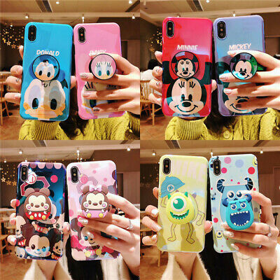 For iPhone XR XS Max 7 8+ Cute Disney Mike Sulley Airbag Stand Holder phone case