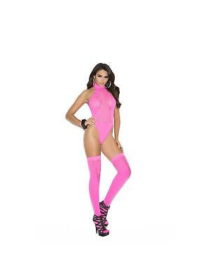 Elegant Moments EM-1585 Opaque and Sheer Teddy With Matching Stockings