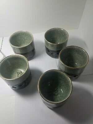 Set of 5 Glazed Porcelain Japanese green tea cup pottery Made in Japan