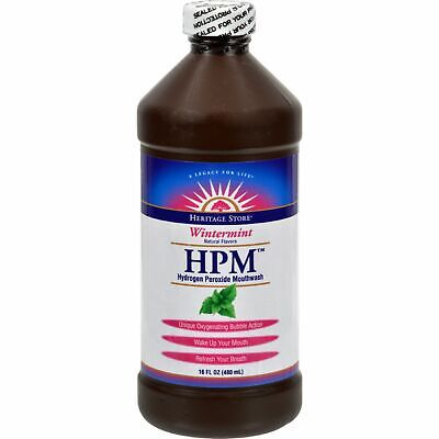 Heritage Products Hpm Hydrogen Peroxide Mouthwash Wintermint - 16 Fl Oz 4 Pack