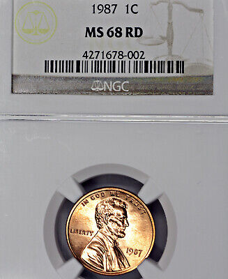 1987-P MS68 Red RD Lincoln Memorial Cent 1c, NGC Graded!
