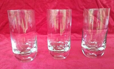 Vintage Tall Clear Glass Tumblers Thick Heavy Round Base Set of 3