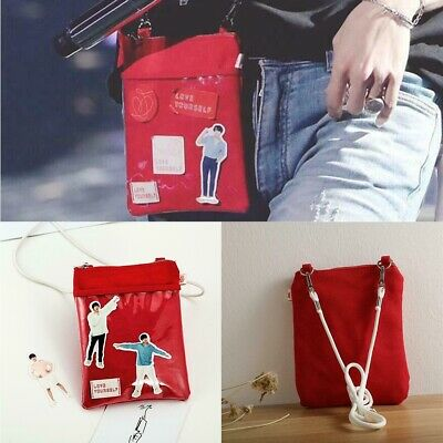 Kpop BTS Love Yourself Canvas Shouder Bag World Tour Cute Mini Satchel Pouch Bag