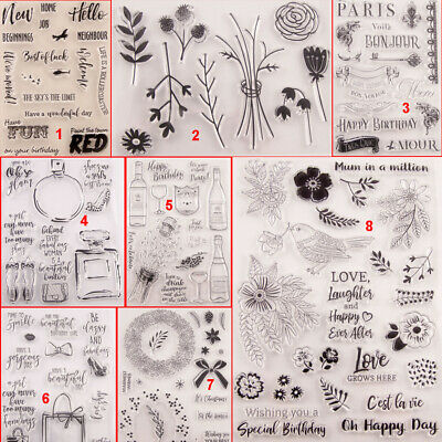 Happy Flower Bird Transparent Silicone Clear Stamps DIY Scrapbook Embossing Art