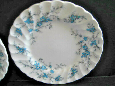 "Myott 2 Staffordshire Ware Fine China "" Forget Me Not"" Blue Flower Bread Plate"