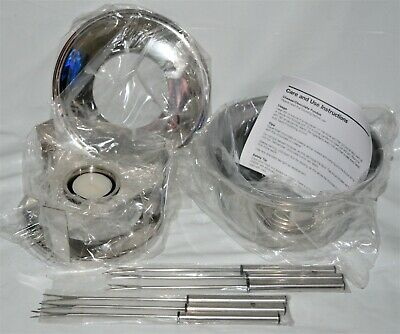 New Crate & Barrel Stainless Steel Fondue Pot Set Flame Heated Cheese/ Chocolate