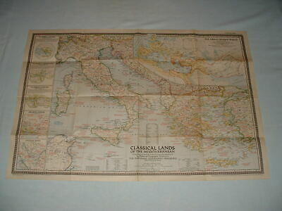 NATIONAL GEOGRAPHIC MAGAZINE 1949 Classical Lands GRECO-ROMAN WORLD Wall Map