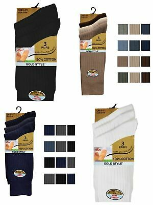 3 Pairs Mens Gents Traditional Ribbed Socks 100% Cotton Ass Colours 6-11 Shoe