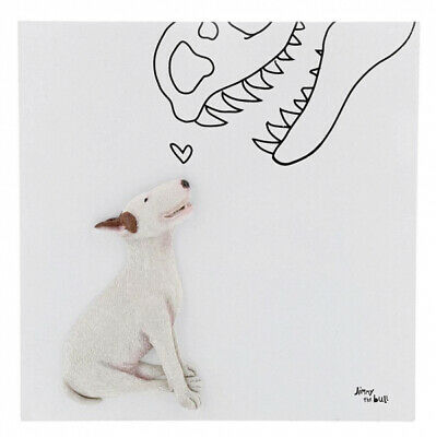 Jimmy The Bull Chien Terrier Art Mural Toile 'Dino Love' 23cm A29625