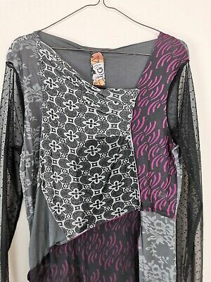 051c45aa9 Womens Top Desigual Long Mesh Sleeve Asymmetric Neck Floral Print Shirt  Size XL