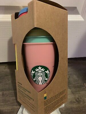 Starbucks Color Changing Reusable Cold Cup Tumblers NEW 5 Pack Lids Straws 2019