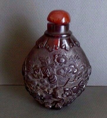 """Old Peking Amber Glass With Animals Relief Two Marks 4 1 /4"""""""