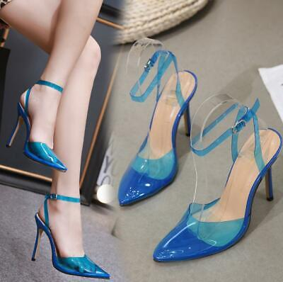 41ee5fcb6f Womens Ankle Strap Pointed Clear High Heels Stilettos Sandals Party Pumps  Shoes