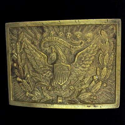 Vintage Indian Wars Eagle Officer Antique Brass 1900s Belt Buckle