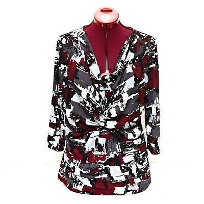 Laura Ashley Blouse Top Womens Size Medium Red Black Gray 3/4 Sleeve Stretchy