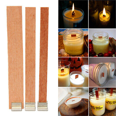 20PCS DIY Handmade Craft Core Making Supply Sustainer Tab Wooden Candles Wick
