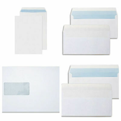 100 High Quality White Self Seal Envelopes Window C4 A4 strong office stationery