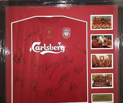 Signed Liverpool Champions League Framed Squad Shirt Carragher Gerrard Hyypia