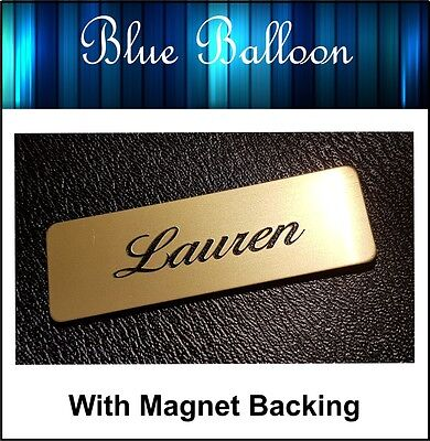 2 x Name Badge -With Magnet - (Gold colr)  64mm x 20mm - Nurse, Staff, Clubs,