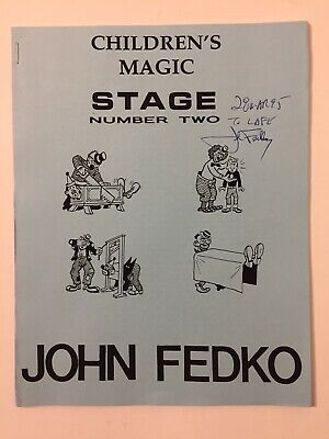 John Fedko Children's Magic Stage #2 Lecture Notes Tricks Card Ball Magician Vtg
