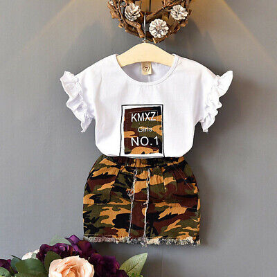 Toddler Kids Baby Girls Cute Outfits Clothes Tee Tops+Camouflage Skirt 2PCS Set