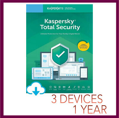 Kaspersky TOTAL Security Antivirus 2019 2020 | 3 PC Device 1 YEAR