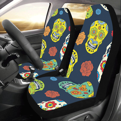 Peachy 2 Day Of The Dead Skull Roses W Thorn Seat Cover Universal Machost Co Dining Chair Design Ideas Machostcouk