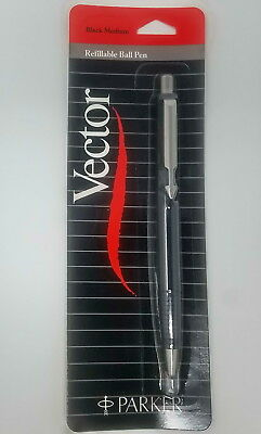 Vintage Parker Vector Black Ballpoint Pen Ribbed Grip New In Pack  From 1980/'s