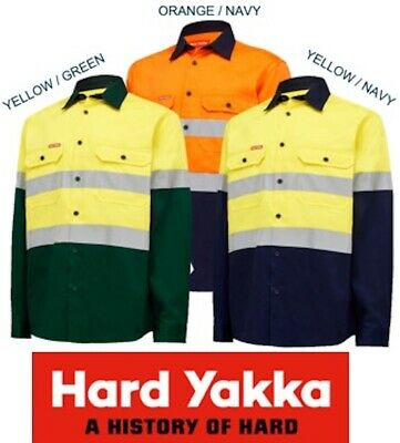 Yakka -  Mens Long Sleeve Open Front Safety Hivis Drill Work Shirt+Tape - Y04610