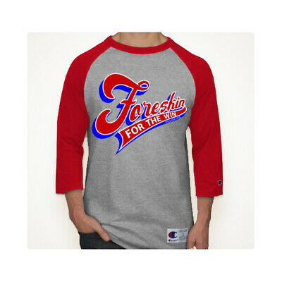 6057a39838f9 Champion Foreskin Raglan 3/4 Sleeve Baseball Mens Tee Jersey Team Sports T- Shirt