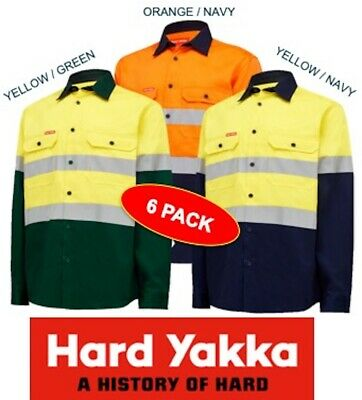 Yakka - 6 Pack- Mens Long Sleeve Open Front Hivis  Drill Work Shirt+Tape -Y04610