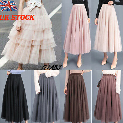 UK Women Adult Lady Tutu Tulle Skirt Fancy Skirt Dress Up Party Dancing Dress