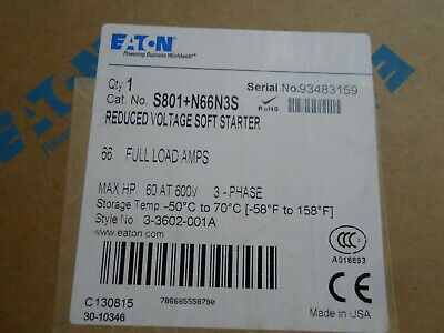 Eaton S801+N66N3S Reduced Voltage Soft Starter 66A, 600VAC NEW BOXED S811N66N3S