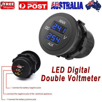 Universal 12-24V Dual Voltmeter Blu LED Digital Panel Volt Battery Gauge Monitor