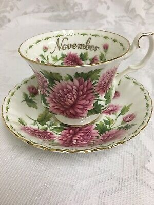 Royal Albert China Cup And Saucer November Flower Of Month Bone China England