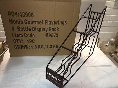 Monin Gourmet Syrup 4 Flavor Station 750ml Bottle Black Display Rack -new in box