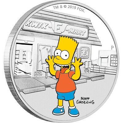 2019 The Simpsons - Bart 1oz Silver Proof Coin