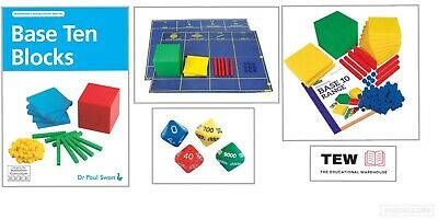 MAB Base Ten Maths Blocks Pack Plus Mat Book & Place Value Dice Teacher Resource
