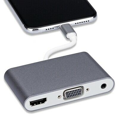 Lightning to HDMI VGA Jack Audio TV Adapter Cable Converter For iPhone Xs Max XR