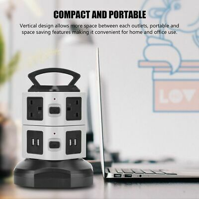 7 Ways Portable Vertical Power Socket Switch 4 USB Port 2.1A Charge Outlet Board