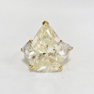 3.42 Ct Pear Near White Genuine Moissanite Yellow Gold Over Best Engagement Ring