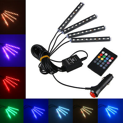 4x RGB LED Innenraumbeleuchtung Fußraumbeleuchtung Auto Innenbeleuchtung Lampe