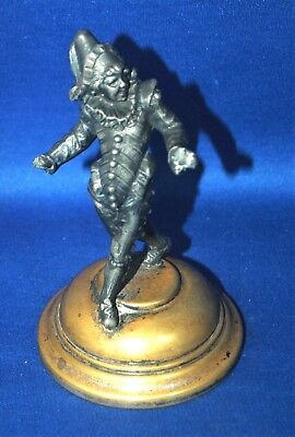 A rare and interesting antique Victorian pewter jester, Rigoletto figure, opera