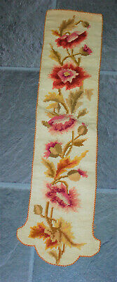 A super decorative antique Victorian floral needlepoint tapestry runner strip