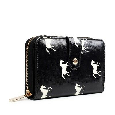 Ladies Girls Purse Wallet Card Holder Short Clutch Credit Card Horse Print