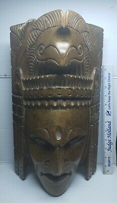 Handcarved Wooden Native American Mask Artist SIGNED #2