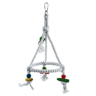 Parrots Cockatiels Rope Bridge Perch Swing Circle Swing Toy Funny Supply T