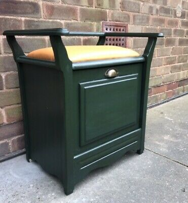 Dark Green Piano Stool - with storage Drawer Stool Piano Restored Vintage