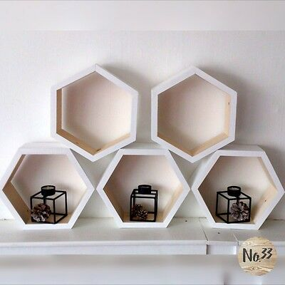 Handmade Wooden Hexagon Shelf in Whites